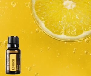 photo d'un flacon d'huile essentielle de citron